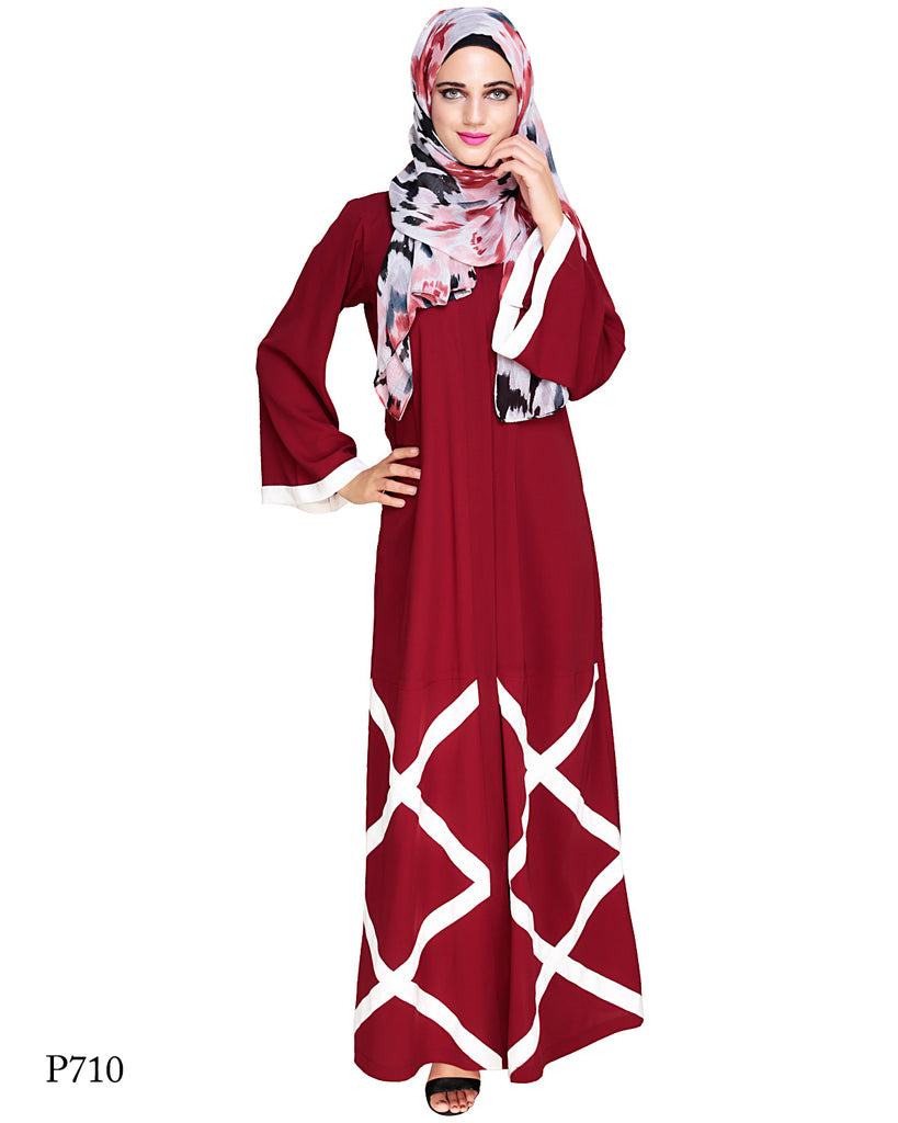 Criss Cross Wine Abaya
