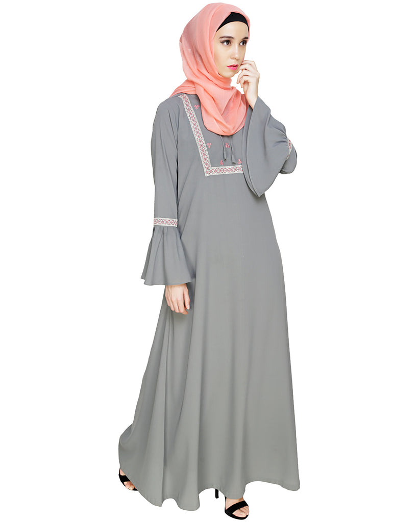 Boho Embroidered Grey Abaya