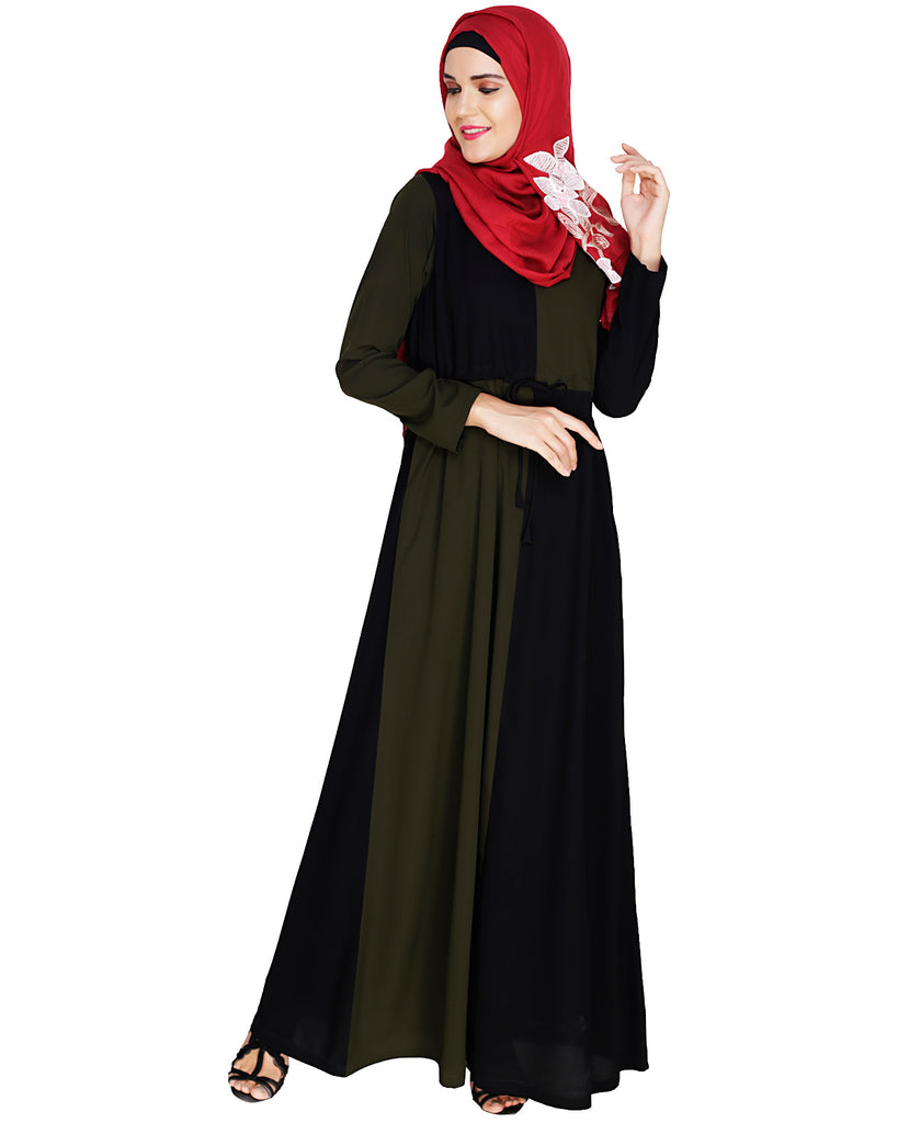 Colour Blocked Olive Abaya