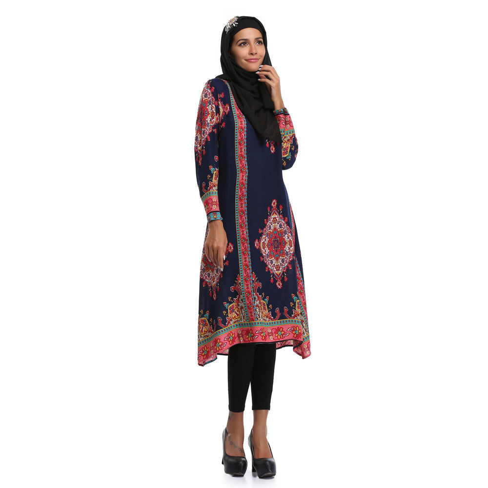 Printing Long sleeves Plus Size Middle East Casua Dress