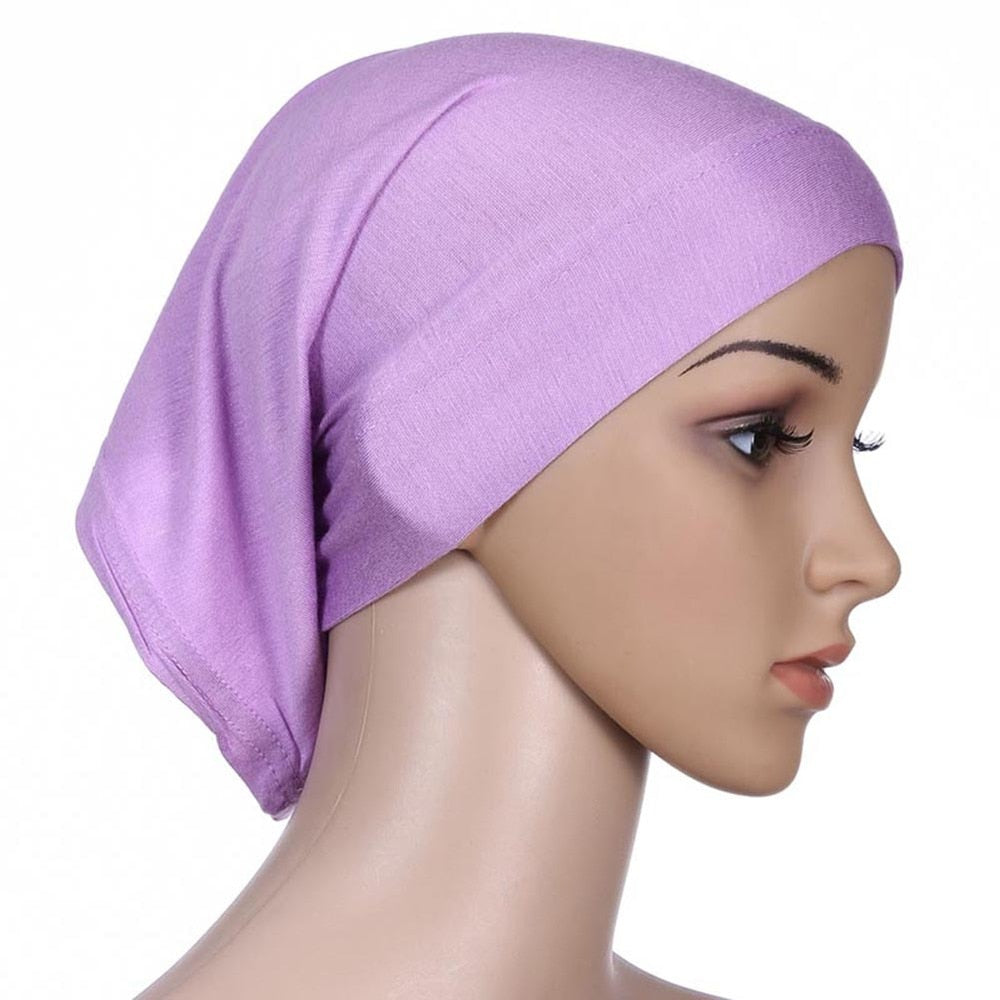 Hot Colorful women Under Scarf Tube Bonnet Cap Bone
