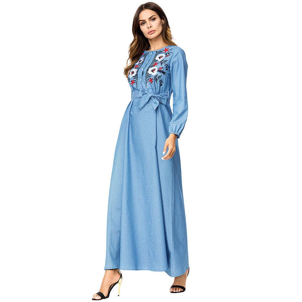 Fashion Flower Embroidery Denim High Waist Dress