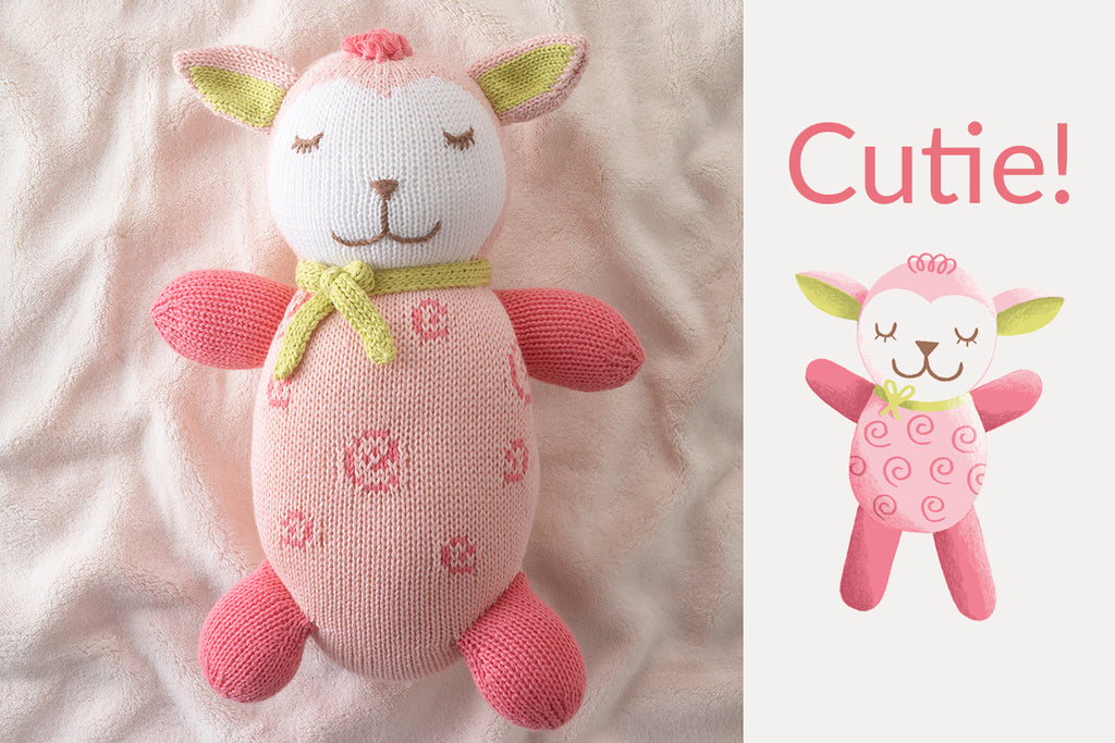 organic lambs sheep stuffed animals pink