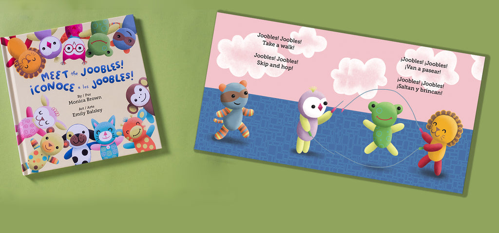 bilingual story book with stuffed animals