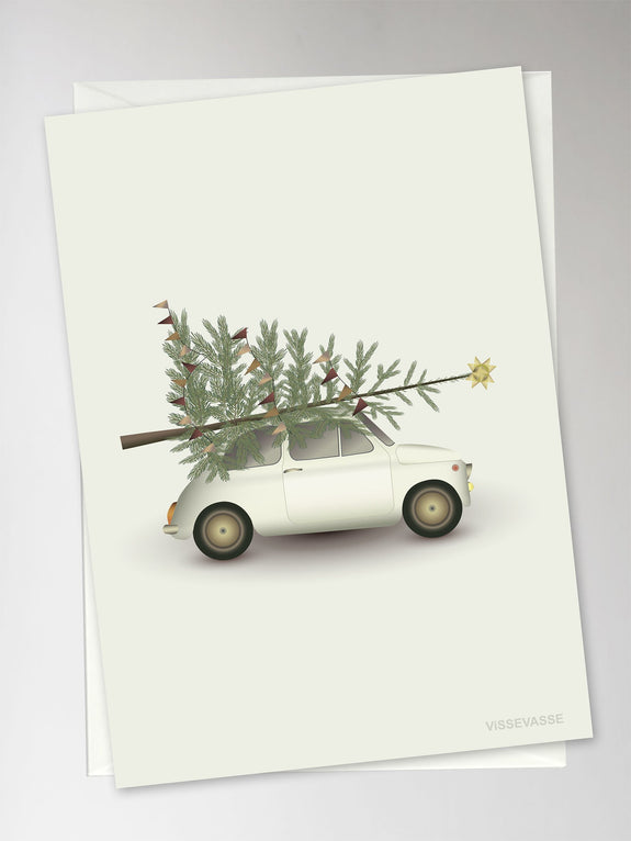 The christmas tree and little car julekort fra Vissevasse