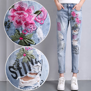 Jeans with Flowers Embroidery Boyfriend Ripped Jeans for Women