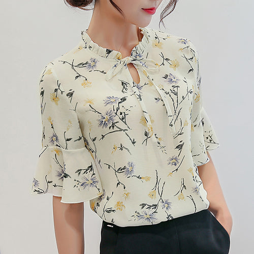 Chiffon Print Ruffles Sleeved Blusas Work Shirts For Womens