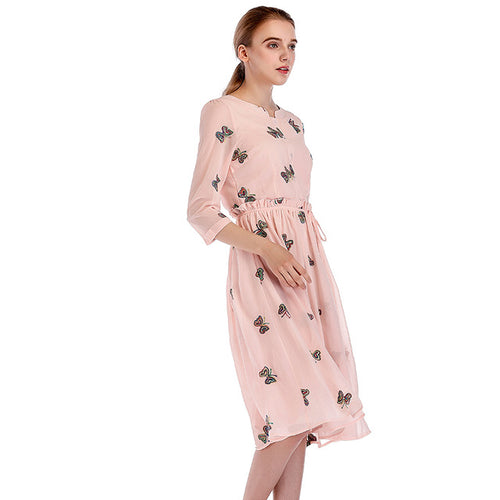 Autumn Chiffon Print Dress Casual Cute O-Neck Women