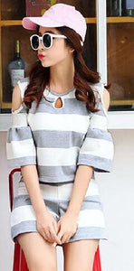 Honeymoon Casual  Off Shoulder Tops Stripe Couple T Shirt