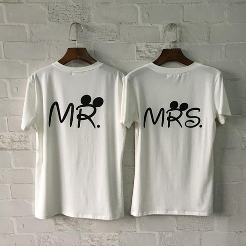 MR and MRS Letter Print Couple T Shirt For Lovers Paired Tops Tee Shirt