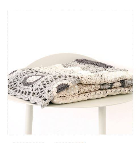 Hand Crochet Blanket - Grey & Cream