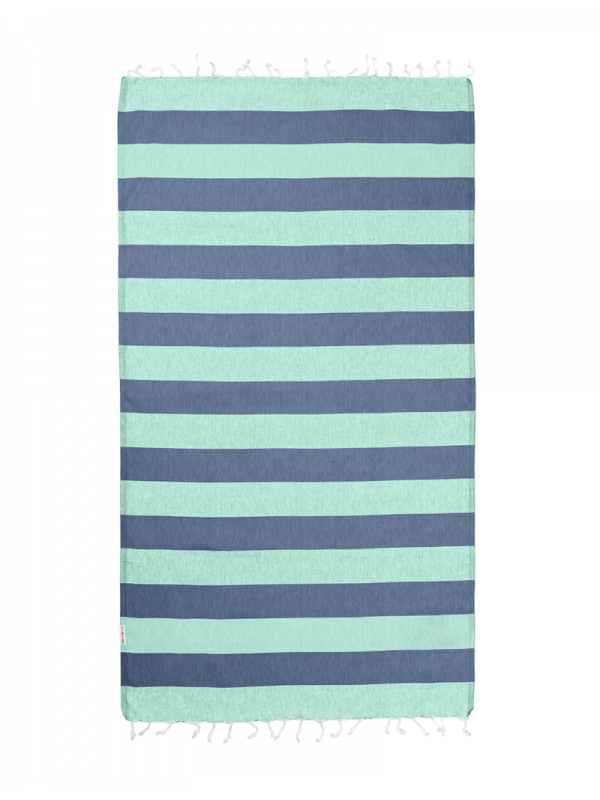 Hammamas Turkish Towel Bold Mint & Navy