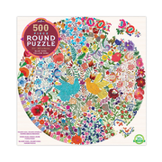 Eeboo 500 pc Round Puzzle - Blue Bird Yellow Bird