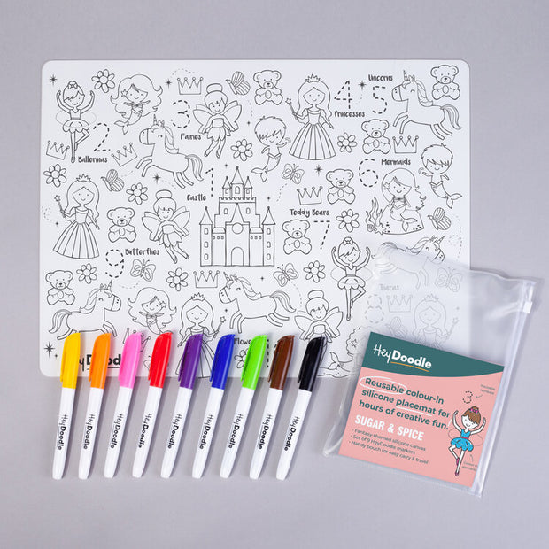 Hey Doodle Reusable Silicone Activity Placemat - Sugar & Spice