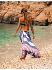 Hammamas Turkish Towel Reef Raspberry/Navy