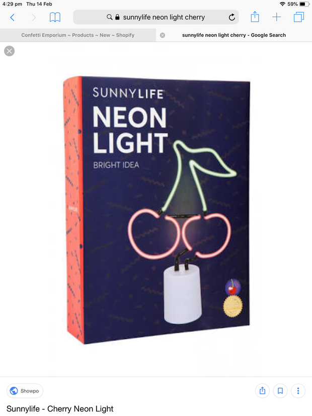 Sunnylife Neon Light Large - Cherry