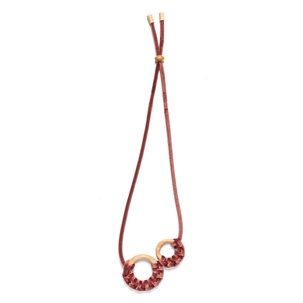 Rare Rabbit Two Velvet Macrame Ring Necklace - Dusty Pink