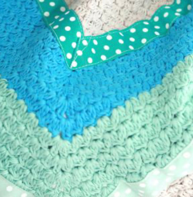 Hand Crochet Blanket - Mint Green & Grey