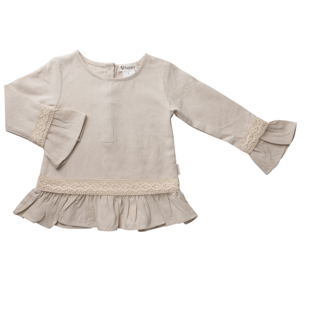 Love Henry Logan Peplum Top - Oatmeal w/lace
