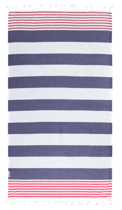Hammamas Turkish Towel Reef Navy/Raspberry