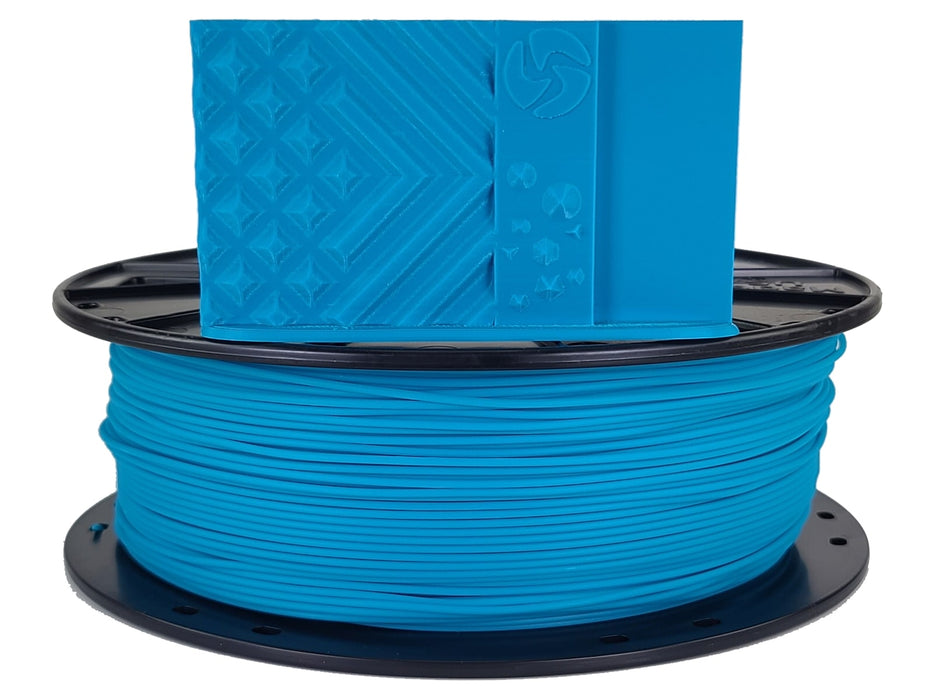 3D-Fuel PLA Caribbean Blue Horizontal Spool with print sample 1.75mm