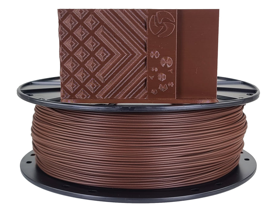 3D-Fuel PLA Chocolate Brown Horizontal Spool with Print Sample 1.75mm