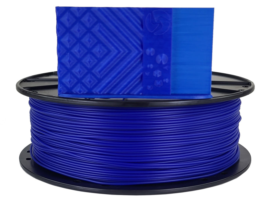 3D-Fuel PLA Cobalt Blue Horizontal Spool with print sample 1.75mm