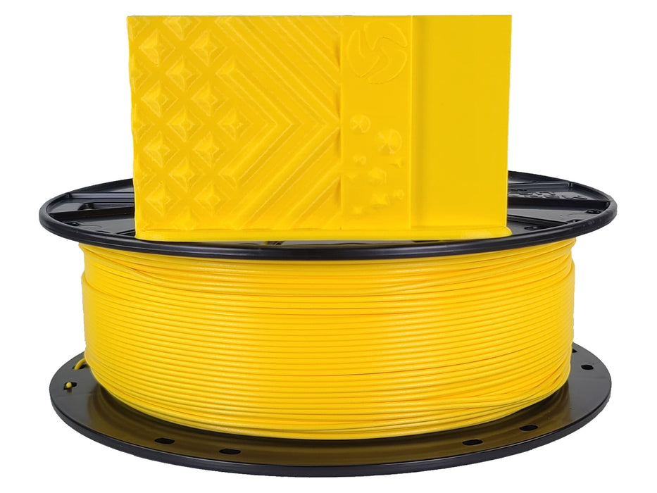 3D-Fuel PLA Daffodil Yellow Horizontal Spool with Print Sample 1.75mm