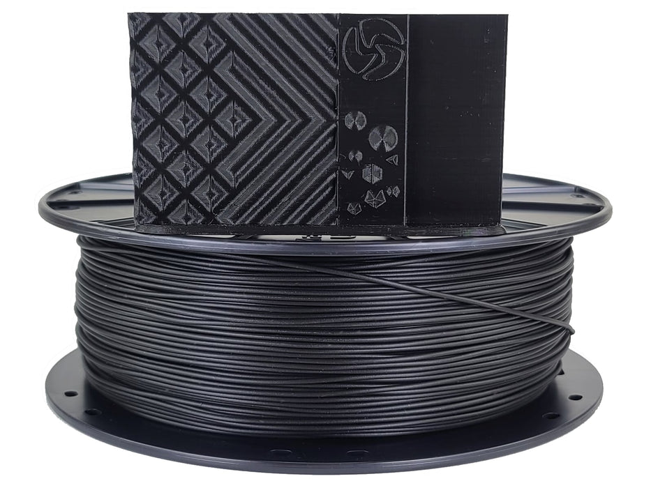 3D-Fuel PLA Midnight Black Horizontal Spool with Print Sample  1.75mm