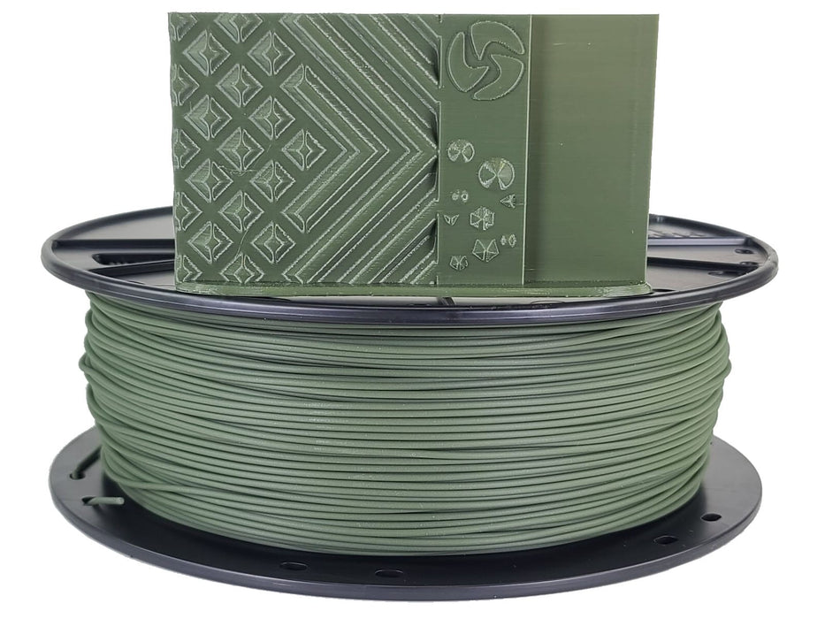 3D-Fuel PLA Olive Green 1.75 Horizontal spool with Sample Print