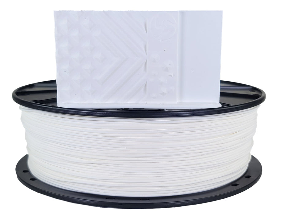 3D-Fuel PLA Snow White Horizontal Spool with Print Sample 1.75mm