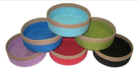 Coloured Jute Straight Sided Bowl with Natural Rim