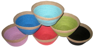 Coloured Jute Small Round Bowl