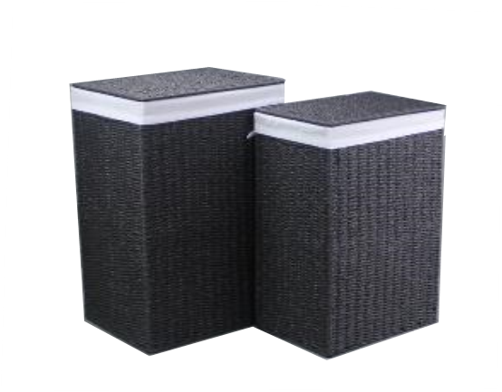 Paper Rope Set of 2 Black Laundries.