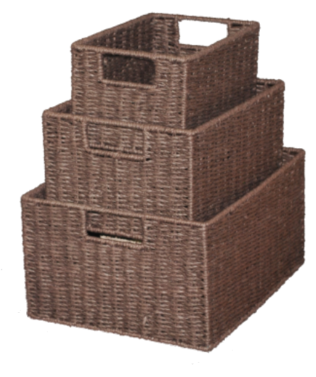 Paper Rope Set of 3 Chocolate Rectangular Storage Crates