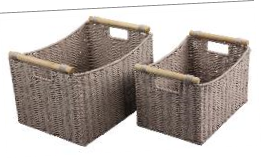 Paper Rope Set of 2 Wheat Grain Deep Storage Trays with Wood Handle