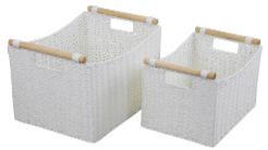 Paper Rope Set of 2 White Deep Storage Trays with Wood Handle