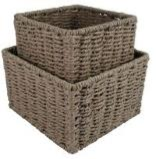 Paper Rope Set of 2 Wheat Grain Small Square Storage Boxes