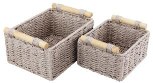 Paper Rope Set of 2 Wheat Grain Small Storage Trays with Wood Handle