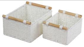 Paper Rope Set of 2 White Small Storage Trays with Wood Handle