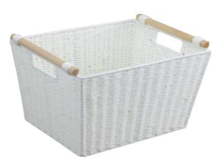 Paper Rope Single White Deep Storage Tray with Wood Handle