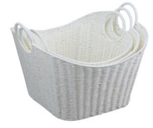 Paper Rope Set of 3 White Storage Tubs with Ring Handle