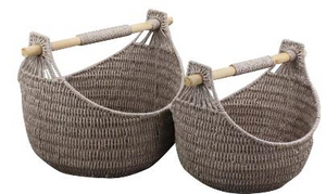 Paper Rope Set of 2 Wheat Grain Magazine Baskets with Wood Handles