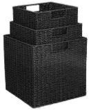 Paper Rope Set of 3 Black Storage Cubes