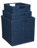 Paper Rope Set of 3 Blue Storage Cubes