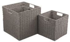 Paper Rope Set of 3 Cool Grey Storage Cubes