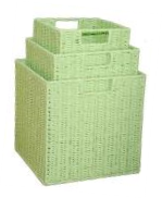 Paper Rope Set of 3 Green Storage Cubes