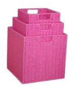Paper Rope Set of 3 Pink Storage Cubes