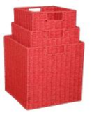 Paper Rope Set of 3 Red Storage Cubes