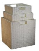 Paper Rope Set of 3 White Storage Cubes